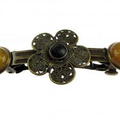 Clama de par bronz model floare cu jad galben