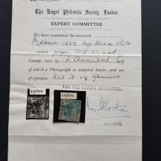 Moldova 1859 Cap de Bour 40 par. stampilat. Certificat istoric 1947. Raritate!