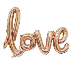 Balon folie mesaj love Rose Gold Wedding Party 60x80 cm