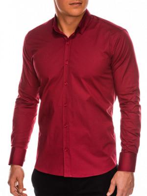 Camasa slim fit barbati K504 - rosu-inchis foto