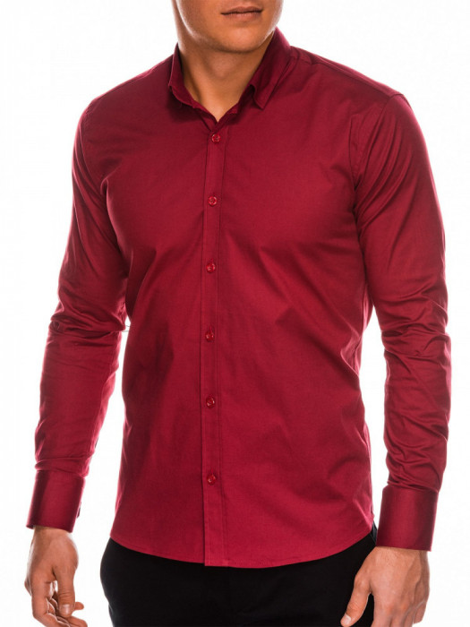 Camasa slim fit barbati K504 - rosu-inchis