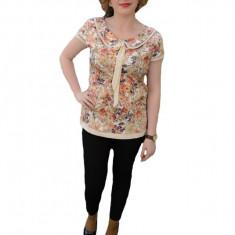 Bluza eleganta, de culoare bej, cu imprimeu de flori de vara