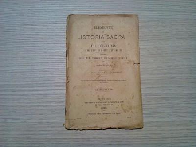 Elemente de ISTORIA SACRA sau BIBLICA a Vechiului si Noului Testamentu - 1893 foto
