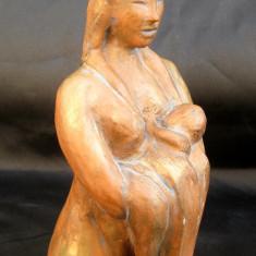 Maternitate sculptura statueta din lut 16 cm
