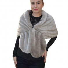 Bolero Samira din blana sintetica,tip capa ,nuanta de gri