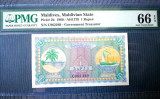 🔥 Maldive 🔸 bancnota 1 Rufiyaa 1960 🔸 PMG 66 EPQ UNC ✅