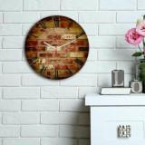 Ceas decorativ de perete din lemn Home Art, 238HMA6112, 30 cm, Multicolor