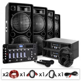 "Electronic-Star Set DJ PA ""Bass First Pro Bluetooth"", 2 x amplificator, 4 x boxe, mixer, 4000 W"