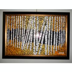 """PICTURA,TABLOU MODERN ,""""PADUREA DE MESTECENI"""" , 55x45cm, PICTOR ROMAN CONSACRAT"""
