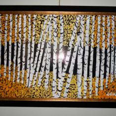 """PICTURA, TABLOU MODERN ,""""PADUREA DE MESTECENI"""" , 55x45cm, PICTOR ROMAN CONSACRAT, Peisaje, Acrilic, Abstract"""
