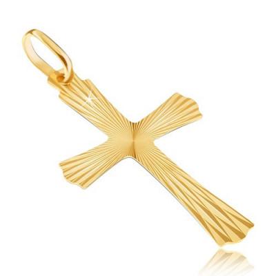Pandantiv din aur de 14K - cruce cu raze și capete ondulate foto