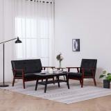 Cumpara ieftin Set canapea, 2 piese, negru, piele artificială