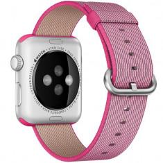Curea pentru Apple Watch 38 mm iUni Woven Strap, Nylon, Electric Pink