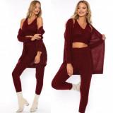 Compleu dama 3 piese ieftin din tricot visiniu compus din pantaloni+maieu+cardigan