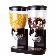 Dispenser de cereale, 2 compartimente, negru, Gonga