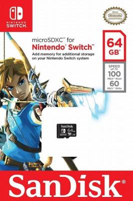 Memorie SanDisk 64GB microSDXC pentru Nintendo Switch foto
