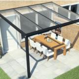 Terasa aluminiu 4x3 mp acoperita cu sticla securizata