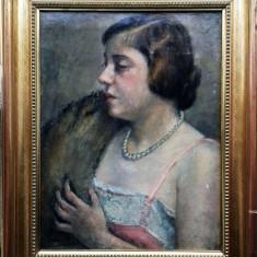 Tablou portret de dama Gall Ferenc (1912-1987), Portrete, Ulei, Impresionism