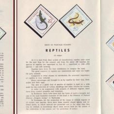 1965 Romania, Reptile LP 601, pliant filatelic de prezentare
