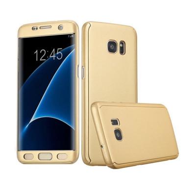 Husa Samsung Galaxy S7 Flippy Full Cover 360 Auriu + Folie de protectie foto