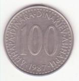 Iugoslavia 100 dinari 1987, diam. 29 mm, Europa, Cupru-Nichel