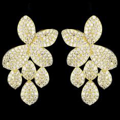 Cercei placati cu Aur 18K si Diamante, Ophelia