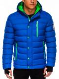 Cumpara ieftin Geaca pentru barbati, albastru, ideal ski, de iarna cu gluga, fermoar si nasturi, model slim - C124