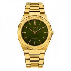 Ceas Stemata Code, quartz, auriu verde, otel inoxidabil, 38 mm