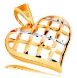 Cumpara ieftin Pandantiv realizat din aur de 14K - inima lucioasa in forma de grila,in doua culori