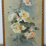 Acuarela superba din 1919 cu TRANDAFIRI / tablou, Flori, Realism