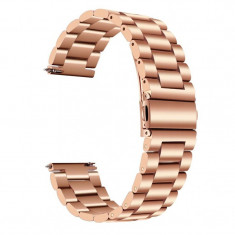Curea metalica compatibila Moto 360 46mm Generatia 2, telescoape Quick Release, 22mm, Pink Gold