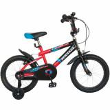 Bicicleta copii 16 FIVE Skitty cadru otel culoare negru rosu roti ajutatoare varsta 4 7 ani