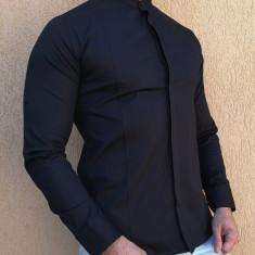 Camasa tunica - camasa neagra slim fit camasa eleganta camasa barbat