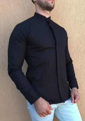 Camasa tunica - camasa neagra slim fit camasa eleganta camasa barbat foto