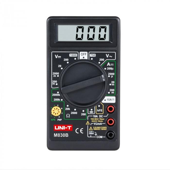 Multimetru digital UNI-T DT830B, testare diode, negru
