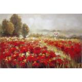 Camp cu flori- pictura in ulei OP-6, Peisaje, Realism