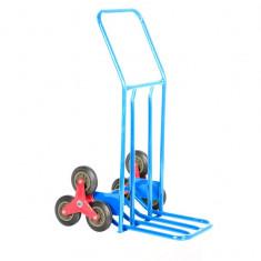 Carucior Metalic Pliabil cu Roti Triple pentru Scari sau Trepti pentru Transportat Marfa, Capacitate 200kg, Culoare Albastru