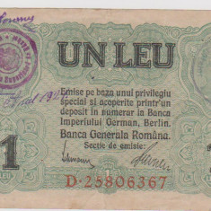 1 leu 1917 BGR /UNC-CU STAMPILA ALBASTRA