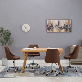 Scaune de sufragerie cu rotile, 4 buc., maro, țesătură