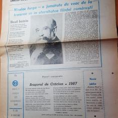 ziarul romania mare 23 noiembrie 1990-50 de ani de la moartea lui nicolae iorga