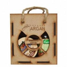 Set cadou rustic cutie lemn (Crema cu ulei de argan Nagoya 100ml + Ulei de argan pentru piele/par Fraicheur 60ml + Sapun cu ulei de argan Argana 40gr)
