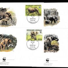 Gabon - Fauna WWF - ELEFANTI - 4 FDC