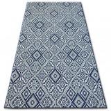 Covor sisal Color 19247/699 Pătrate Caro Superficial albastru, 80x150 cm, Dreptunghi