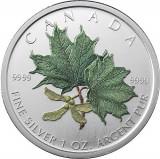 CANADA 5 DOLLARS -MAPLE LEAF- 2002- COLORAT/ 1 oz./31,39gr./Ag. 0999 / 38 mm /BU, America de Nord