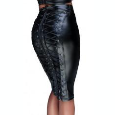Fusta Neagra piele cu siret la spate, Noir Handmade, Neagra