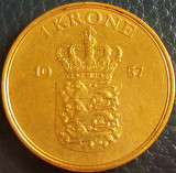 Moneda 1 COROANA - DANEMARCA, anul 1957 *cod 5207 C♥S, Europa