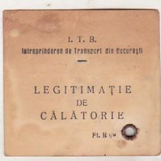 bnk  div Legitimatie de calatorie ITB - anii `50-`60