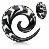 Expander spiralat pentru ureche din material organic, cu model și fragmete de scoică - Lățime: 10 mm