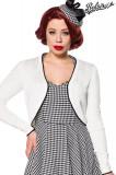 Bolero tricotat, alb, cu margine neagra, 2XL, L, M, S, XL