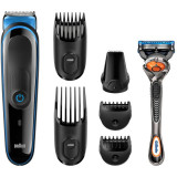 Kit de ingrijire multifunctional Braun MGK3045, 7-in-1, 4 piepteni, 13 lungimi, Gillette ProGlide FlexBall inclus, negru